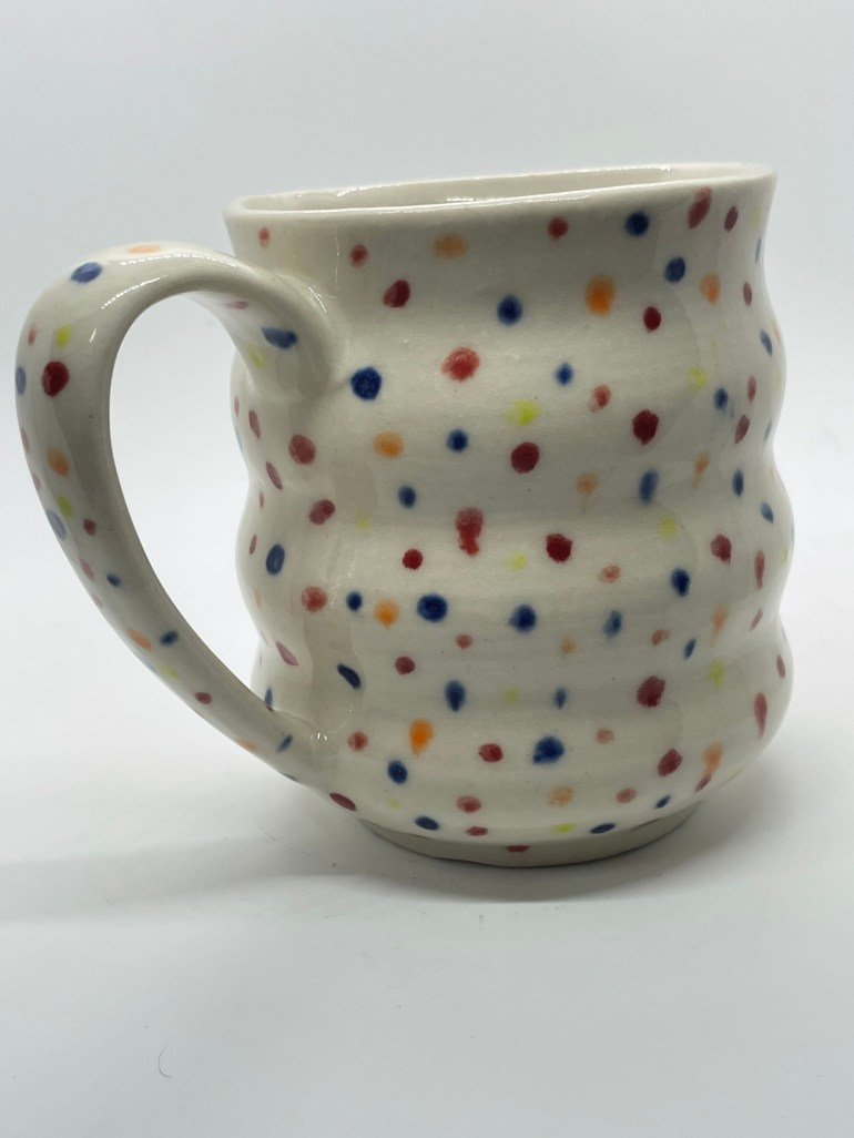 Off the Pottery Wheel: Spotted Curvy Mug