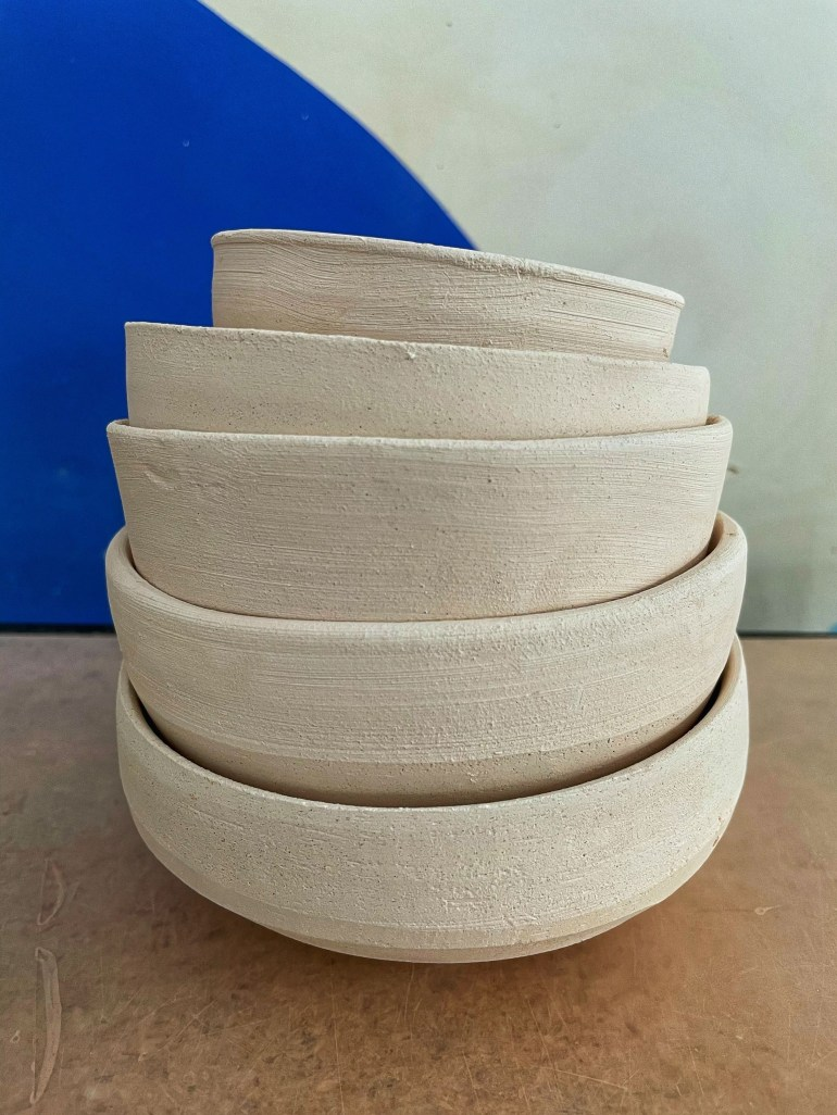 On the Pottery Wheel: A Stack of Bowls Waiting to be Glazed