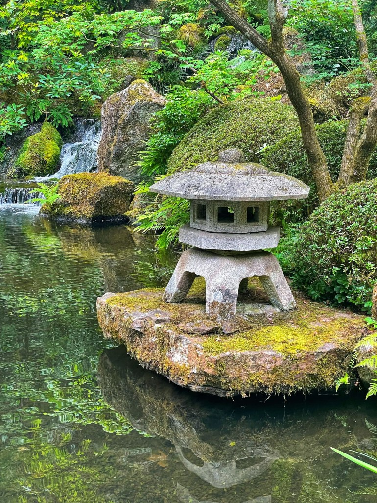 Water and Reflections at the Japanese Garden in Portland, Oregon