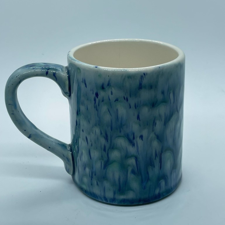 Hand Made Pottery: Cascading Blue Gem Coffee Cup