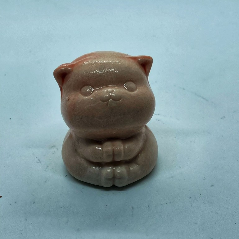Hand Made Pottery: Slipcast Pink Thankful Cat