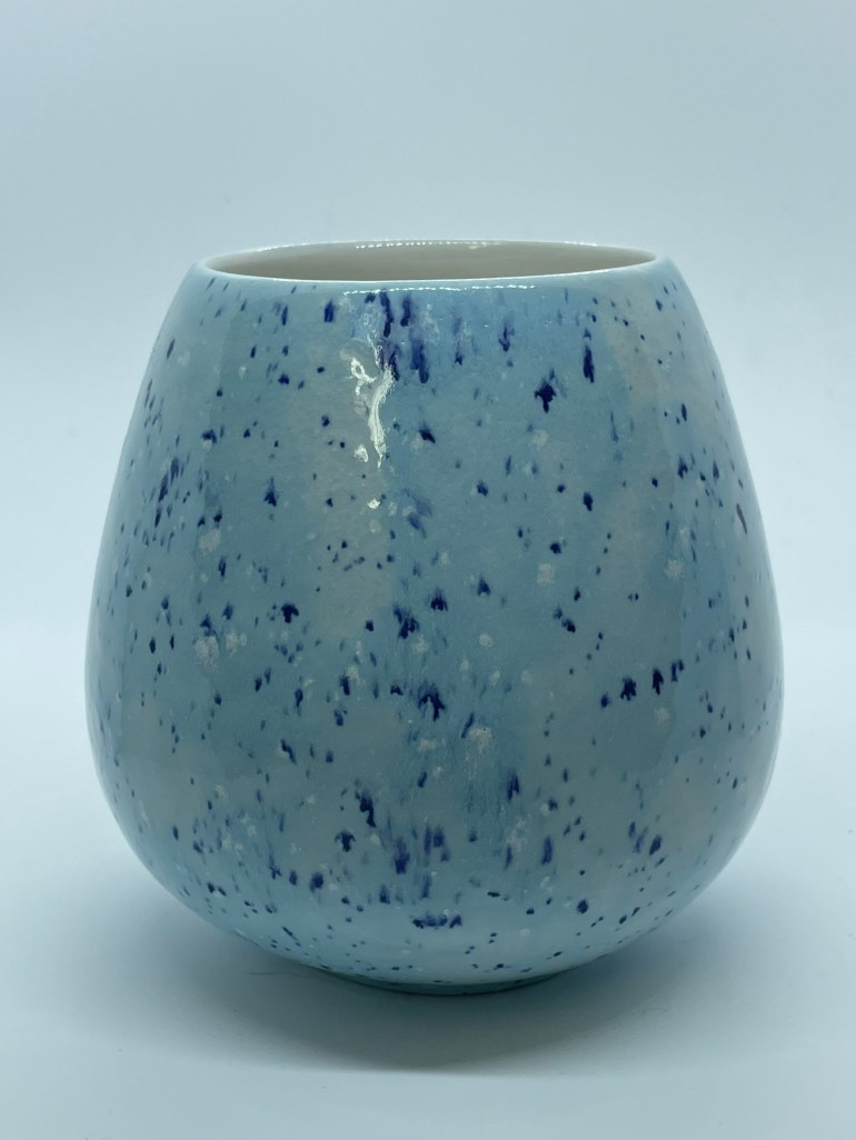 Hand Made Pottery: Blue Speckled Wine Glass