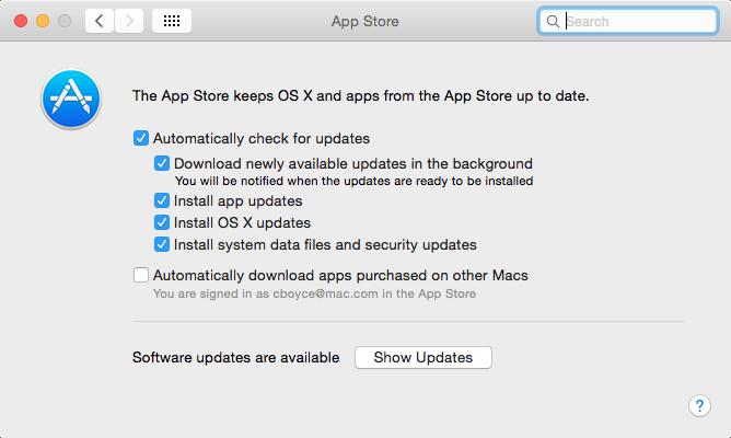 App Store options