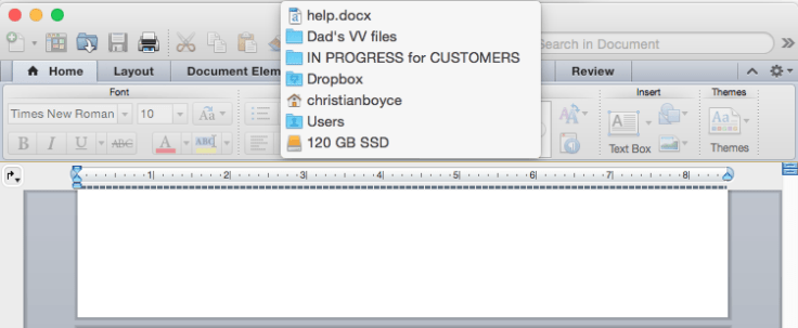 Command-click the document's name in the title bar to show the path back to the hard disk.