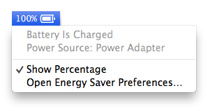 Battery with percentage showing