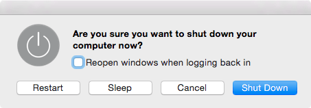 Are you sure restart sleep cancel shut down