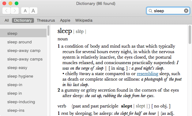 Dictionary, in use