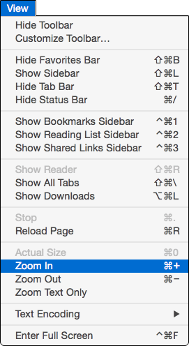 Safari View menu
