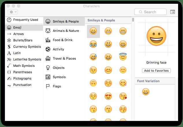 Emoji & Symbols palette