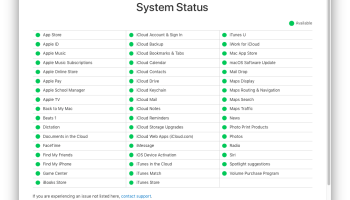 Apple Services Status Page