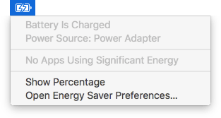 Apple laptop battery menu