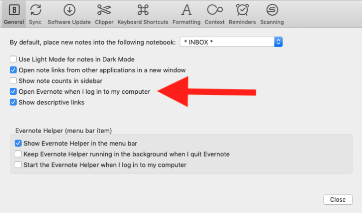 Screenshot: Evernote Preferences