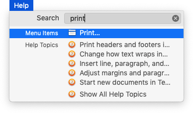 Searching in Text Edit's Help menu