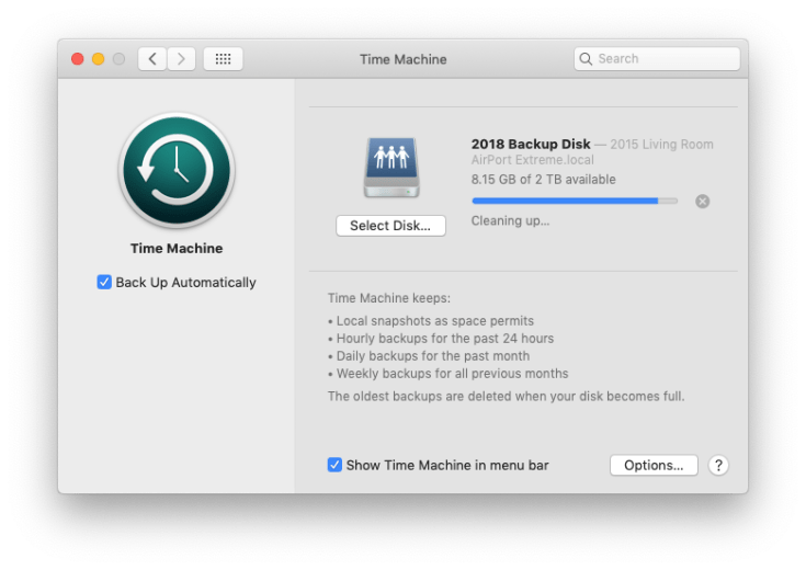 Time Machine preference pane in System Preferences.