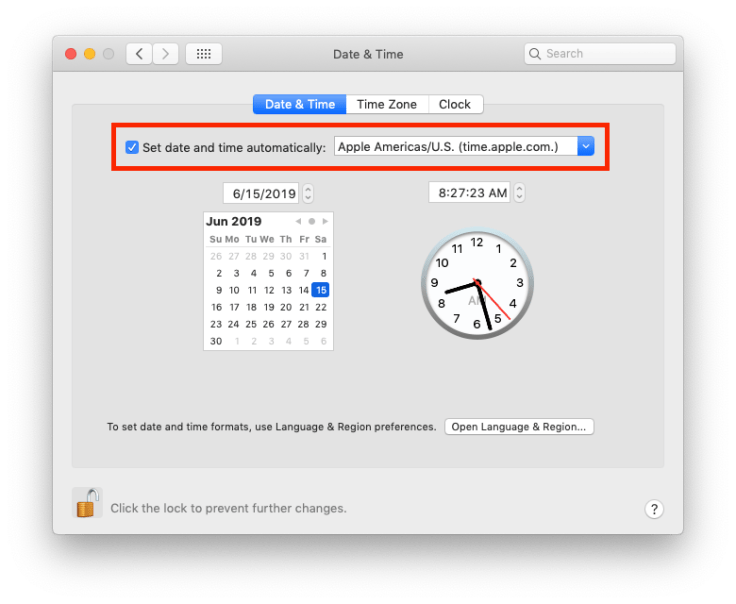 Setting the Date & Time preference pane to always get the right date & time.