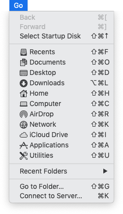 The Finder's Go menu. Everything but a Library folder.