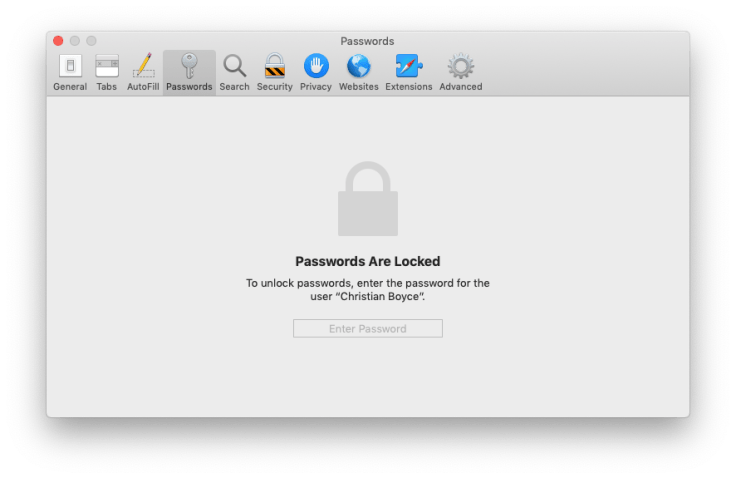 Safari locked passwords