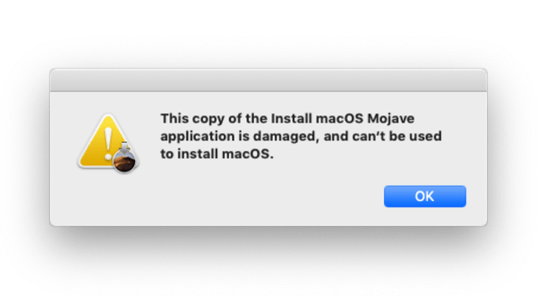 Damaged Installer error message