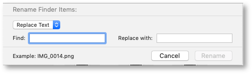 Renaming Finder Items dialog box.