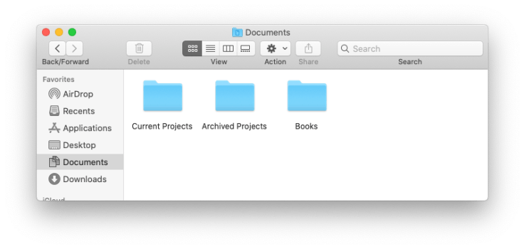 Finder window showing icons and text labels