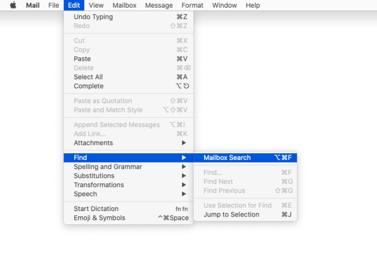 Mac Mail's Edit menu, showing