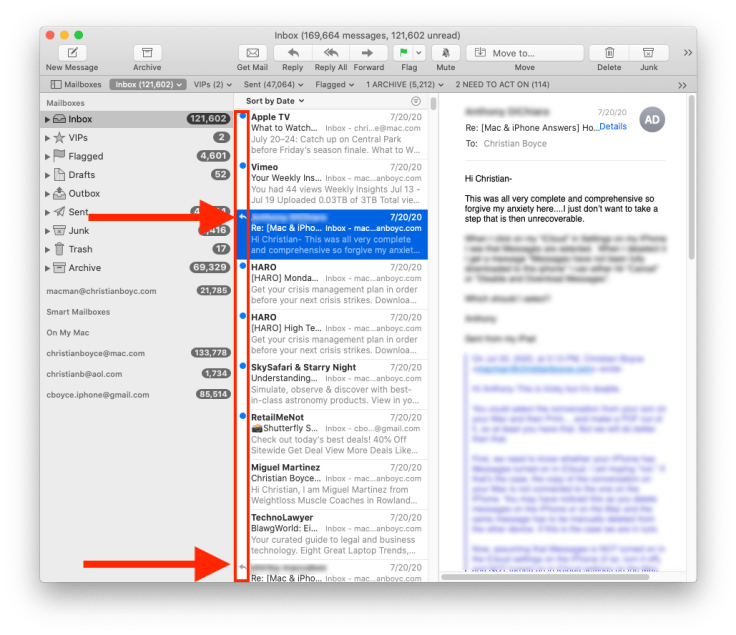 The Mac's Mail app, showing messages I've replied to