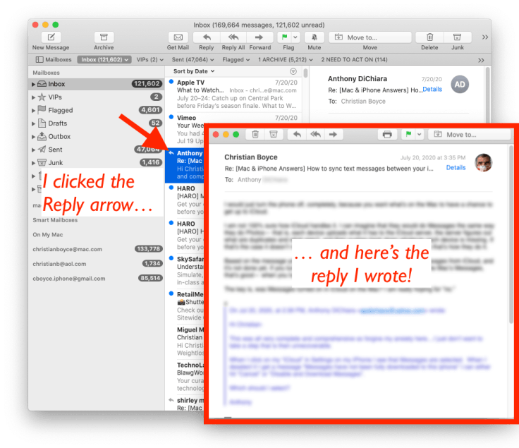 Click the reply arrow next to an email and see the reply