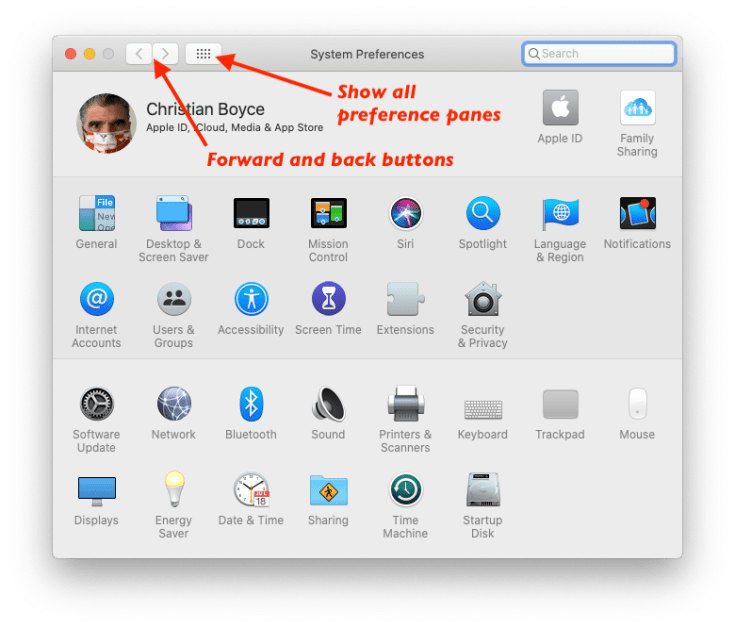 macOS System Preferences, showing all preference panes