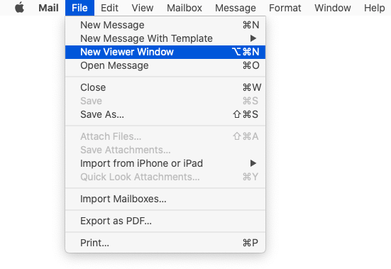Opening a New Viewer Window in Mac Mail