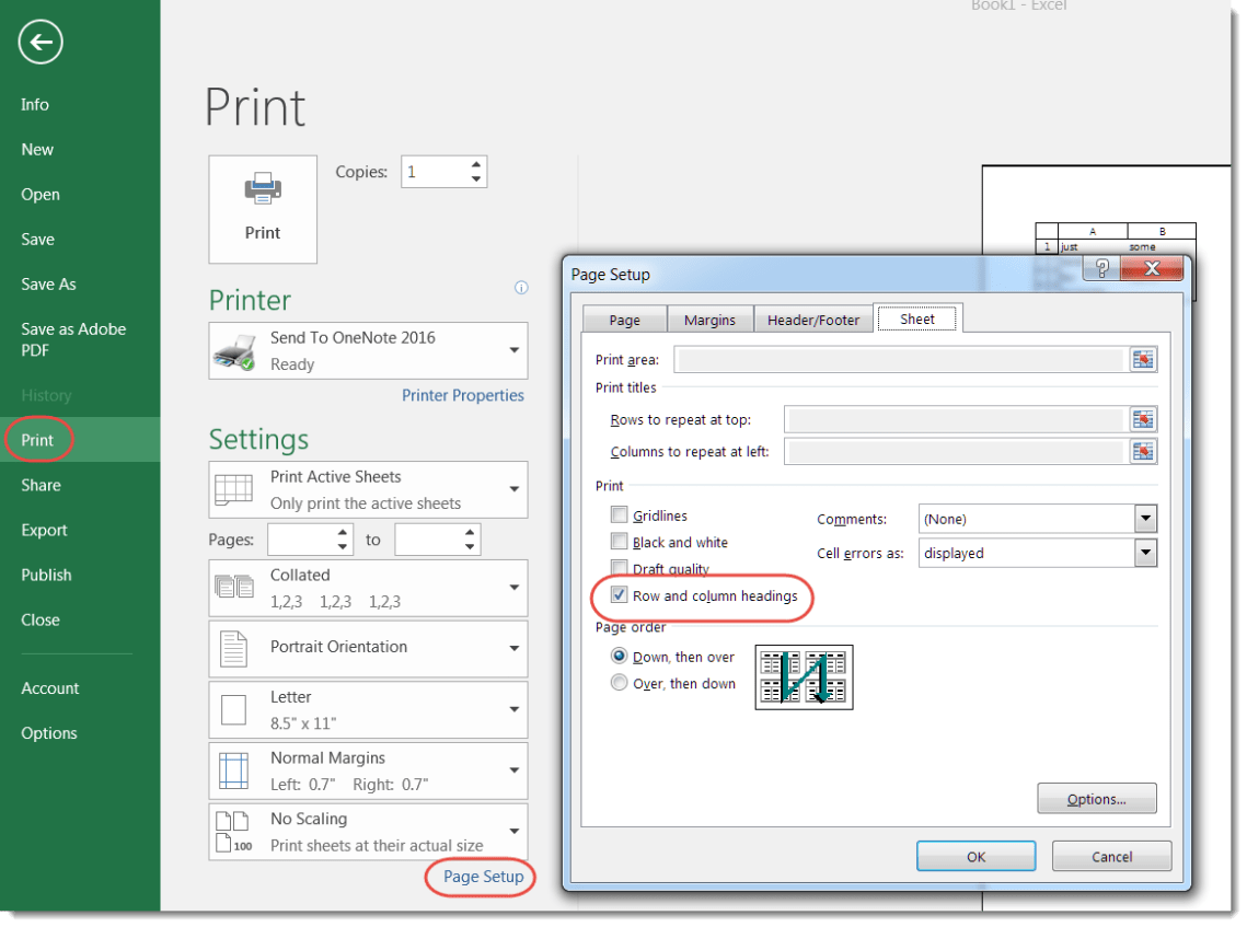 Printing the row letters and column numbers on an Excel spreadsheet ...