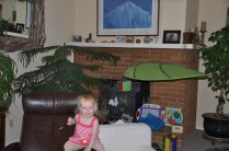 Pleased with her in-home jungle gym.