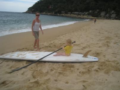 Paddling at the main beach