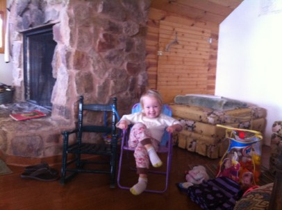 Mia had to try out every one of the small chairs