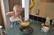 Adding milk & cream to the eggs