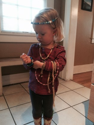 Playing with all of her jewelry and some of my old hemp stuff (this was back in March!)