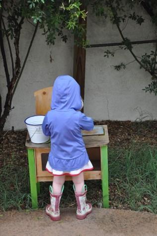 Hard at work in her outdoor kitchen