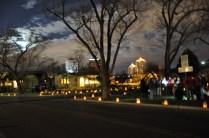 Luminarias (paper lanterns) and full moon