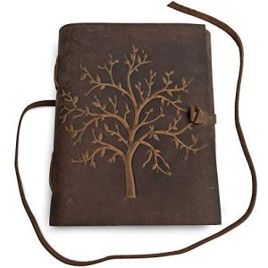 RSN Leather Journal Tree of Life – Writing Notebook Handmade Leather Bound Daily Notepads for Men & Women 7×5 Inches – Best Gift for Art Sketchbook, Travel Diary