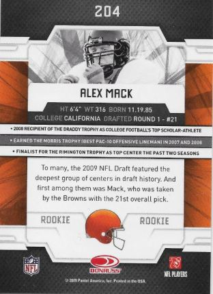 2009 Elite Alex Mack RC Back