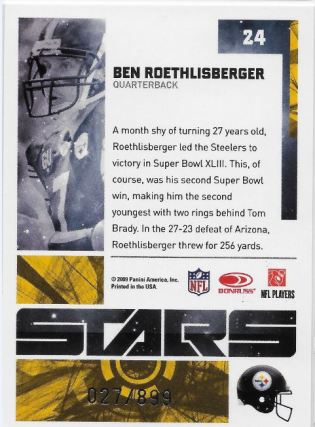 2009 Elite Roethlisberger Stars to 899 Back