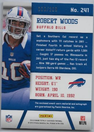 Robert Woods 2013 Totally Certified back to 299