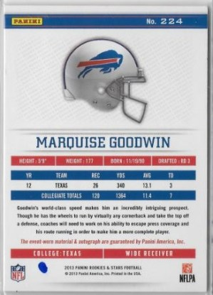 2013 R&S Marquise Goodwin Auto Patch Back
