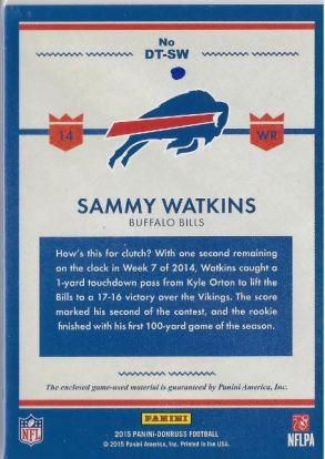 2015 Donruss Threads Sammy Watkins Back