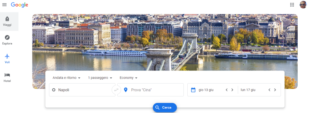 menù principale Google Flights