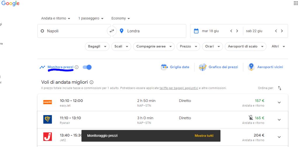 monitora prezzi Google Voli