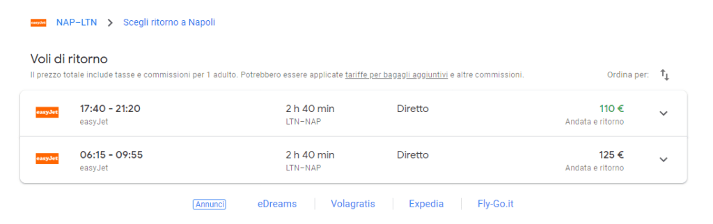 prenotare voli su Google Flights