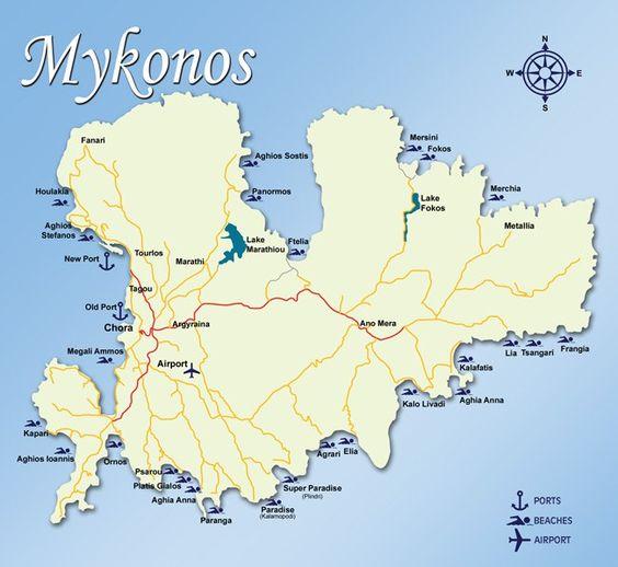 mappa zone Mykonos