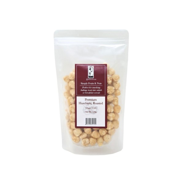 Roasted hazelnuts in a resealable zip lock bag. Can be used in chocolate fondue, spread or culinary recipes.