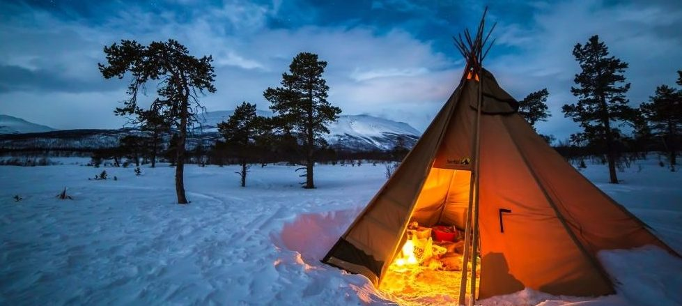 sweden, camping, snow, winter, teepee, travel, rtw, onenomadwoman