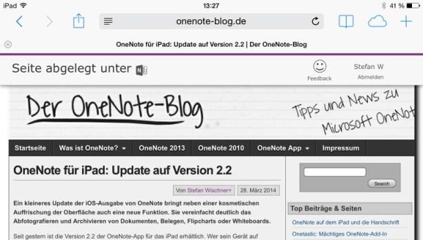 Zum Speichern einer Webseite in OneNote diesen Favoriten aufrufen und Bestätigung abwarten.